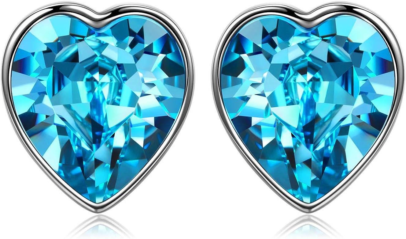 ANGEL NINA Regalos para San Valentin Amor Puro Pendientes para Mujeres Plata 925 Con Cristales de Swarovski Océano Azul, Elegante Caja de Joyas, ...