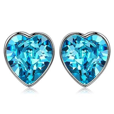 ANGEL NINA Herz Ohrringe für Damen 925 Sterling Silber mit Kristall von  Swarovski Blau Weihnachtsgeschenke Geschenke bf737b5d5f