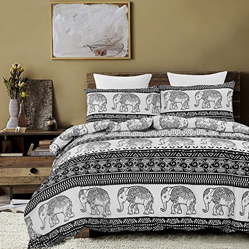 Vaulia Lightweight Duvet Cover Set, Mandala and Bohemia Exotic Patterns Inspired Design - King Size