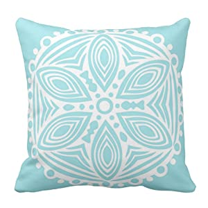 Light Teal Blue and White Art Design Pattern Decorative Throw Pillow Cover Square Pillow Case Cushion Cover