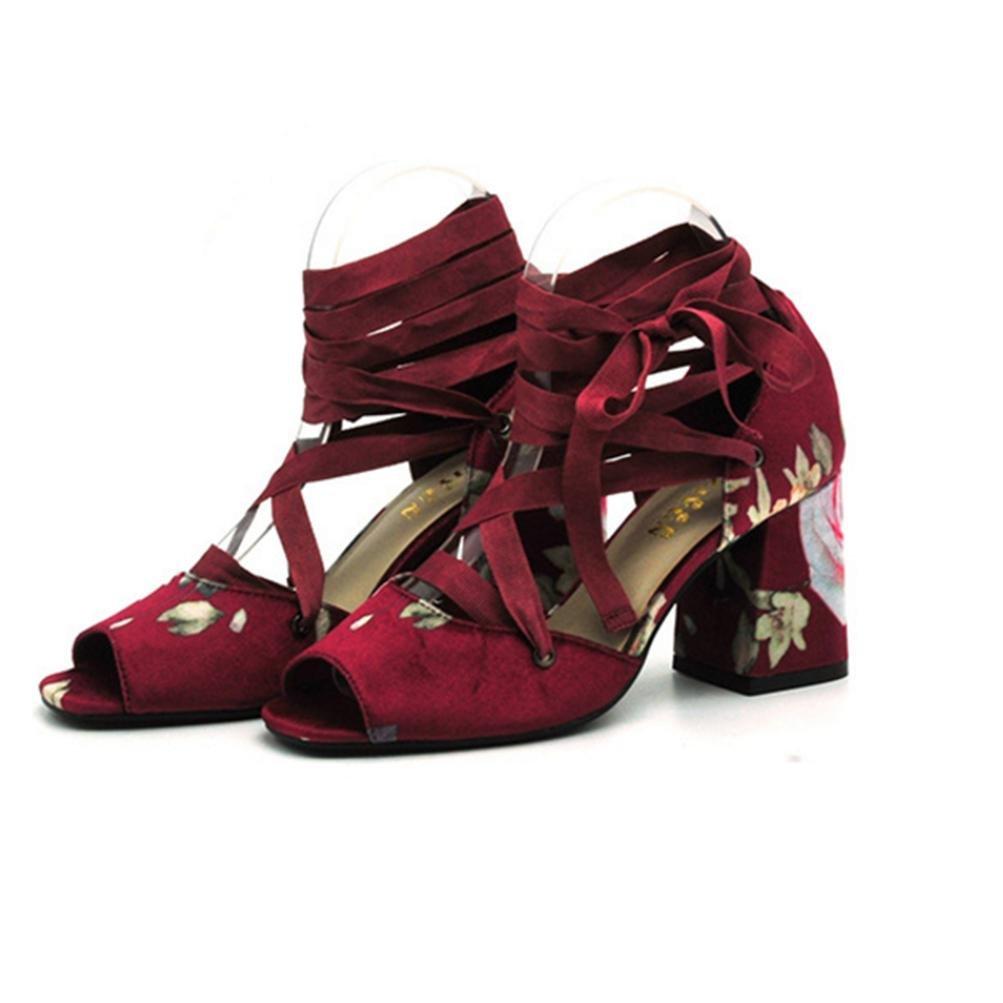 QPYC Frauen mit hohen Absätzen offene Roms Toe Roms offene Andals Fisch Mund rau mit einzelnen Schuhen ROT 939e46