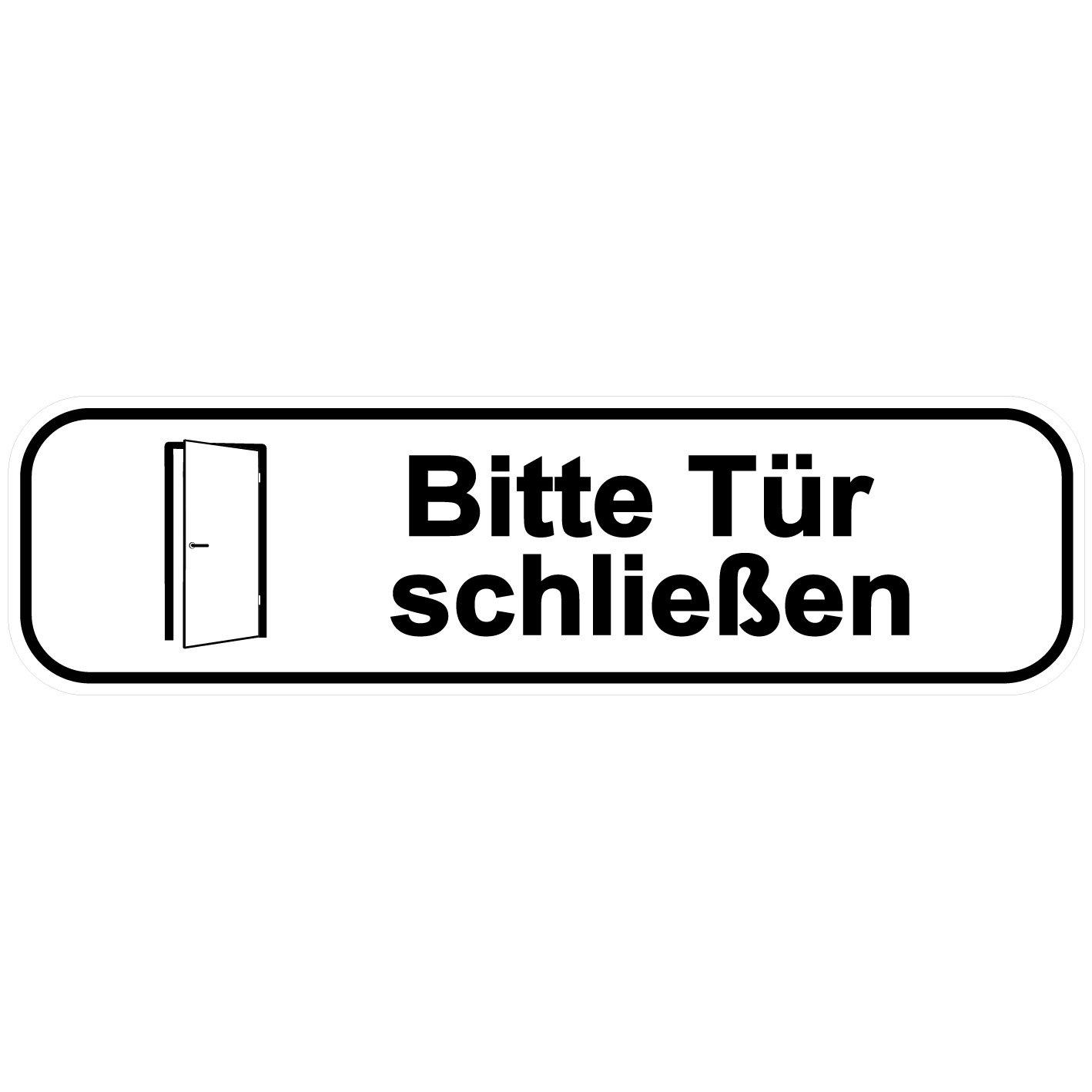 'Bitte Tü r schließ en' Aufkleber / Tü raufkleber/ Tü rschild/ PVC Hinweisschild 180mm x 50mm Weiß /Schwarz selbstklebend Kinekt3d Leitsysteme