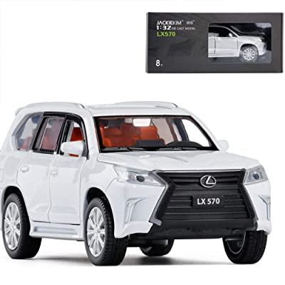 01:32 Lexus LX570 modèle de Voiture, 6 Porte arrière Ouverte de la lumière d'une Voiture Jouet en métal , Lexus 570-570 Blanc Cuisine & Maison