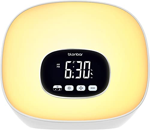 Wake-Up Light Alarm Clock Blonbar Sunrise Alarm Clock with Radio for Bedrooms, 7 Colored Night Light, Snooze, Adjustable Brightness and Touch Control for Kids