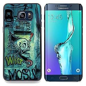 "Qstar Arte & diseño plástico duro Fundas Cover Cubre Hard Case Cover para Samsung Galaxy S6 Edge Plus / S6 Edge+ G928 (Dibujo del cráneo Arte Grafiti Calle Cita Slogan"")"