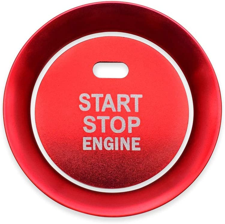 Second Generation Ceyes Red Start Stop Engine Button Cover+Ring Push Button Ignition Switch Trim Push Start Button Ignition Start Stop Button Stickers for Mazda CX-5 CX5 2017 2018