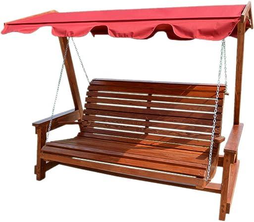 Hilmo - Columpio balancín de madera de 3 plazas de alerce macizo: Amazon.es: Jardín