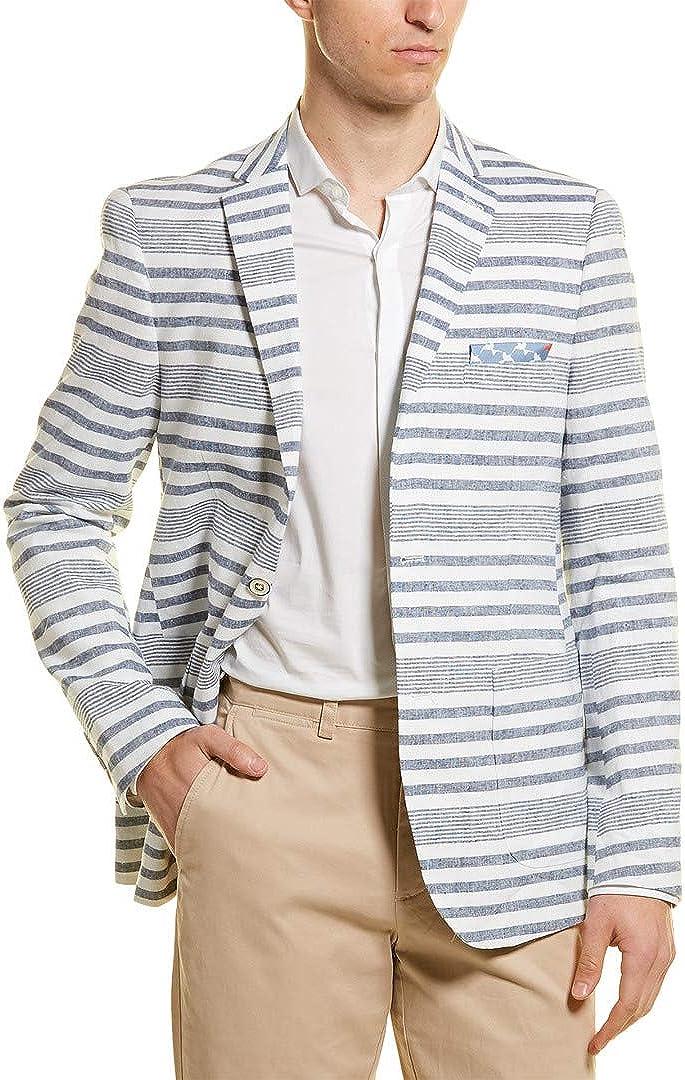 Paisley /& Gray Linen-Blend Slim Fit Blazer