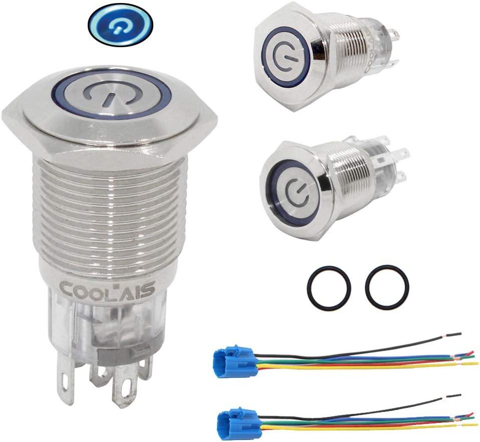 uxcell/® Momentary Metal Push Button Switch 16mm Mounting Dia 3A 1NO 3V Blue LED