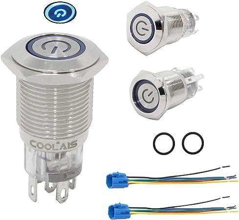 19 mm Interruptor De Botón Negro Lámpara de marca de alimentación LED de botón de prensa botón de cierre