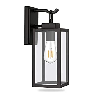 Hykolity Outdoor Wall Lantern, Matte Black Wall Light Fixtures(Bulb Not Included), Architectural Wall Sconce with Clear Glass Shade for Entryway, Porch, Doorway, ETL Listed