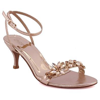 "9a95cf139952 Unze Women ""IVRIA"" Open Toe Evening Crystal Adorned Toe Bar Strap Wedding  Adjustable Buckle Closure Formal Sling Back Strap Dinner Kitten Heel Sandal  UK ..."