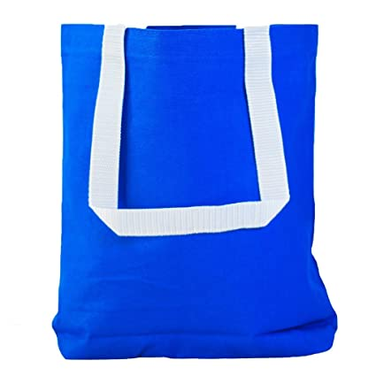 df3c5495a Amazon.com: Multipurpose Cotton Canvas Tote Bags with White Handles (Small,  Medium, Large ) (Medium, Royal): Kitchen & Dining