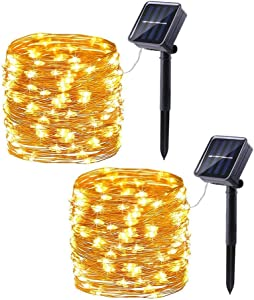 Brizled LED Solar Christmas Lights Warm White, 33ft 100 LED Solar Fairy Lights, 8 Modes Indoor/Outdoor String Lights with Memory Waterproof Decorative Starry Lights for DIY Wedding Party Lawn, 2 Pack