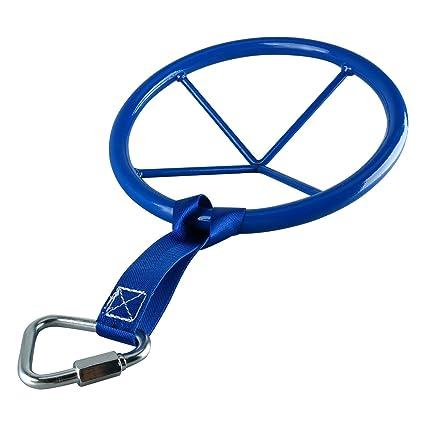Yaegoo 10 Inch Diameter Metal Ninja Wheel with Safety Carabiner | Advanced Monkey Bar Obstacle | Ninja Warrior Training Equipment
