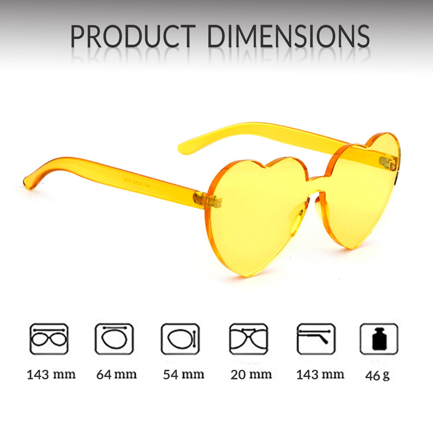 c3a40bda88c ADEWU Love Heart Sunglasses Women Girl Rimless Candy Color One Piece Eyewear  larger image