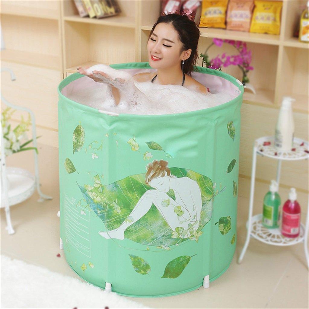 AJZGF Badewannen-Erwachsene Kinderbadewannen-Faltbare Nehmen Ein Bad-Badewannen-Plastikbadetrommel-Geschenk-Grüne Art und Weiße Kreatives 70  70cm Badewanne