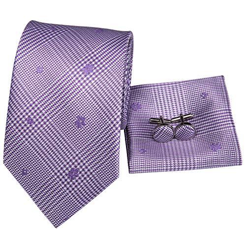 (Hi-Tie Men Classic Purple Tie Handkerchief Necktie Pocket Square and Cufflinks Tie Set (Purple plaid floral))