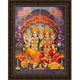 Avercart Lord Vishnu / Shree Vishnu / God Vishnu / Narayana Hari with Laxmiji / Goddess Lakshmi / Vishnu and Laxmi Poster 30x40 cm with Photo Frame (12x16 inch framed)