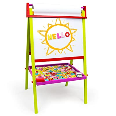 Little Artists 3-in-1 Standing Easel | Includes 75 Magnetic Letters, Rainbow Chalk, Eraser, and Easel Paper | Wooden Wonders Kids Creative Art Drawing Board | Art Class and School Teacher Activity: Toys & Games