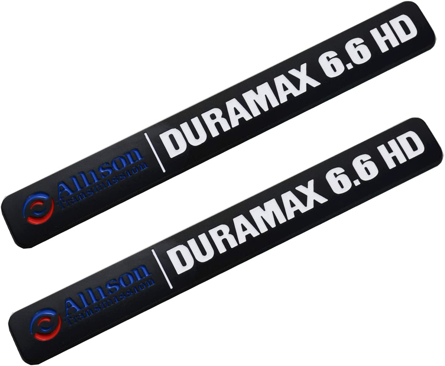 Allison Transmission Duramax 6.6 HD Hood Emblem Pair Set for GM Silverado 2500HD Black White