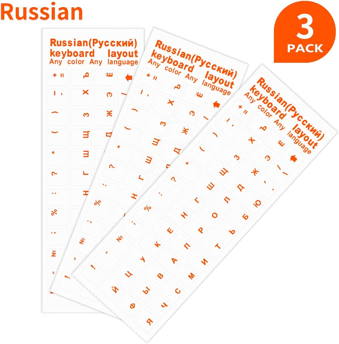 3 Pack Transparent Replacement Russian Keyboard Stickers, Transparent Background with Organge Lettering Keyboard Stickers for Laptop PC Computer Desktop Keyboards(Don't Suggest Use for Black Keyboard)