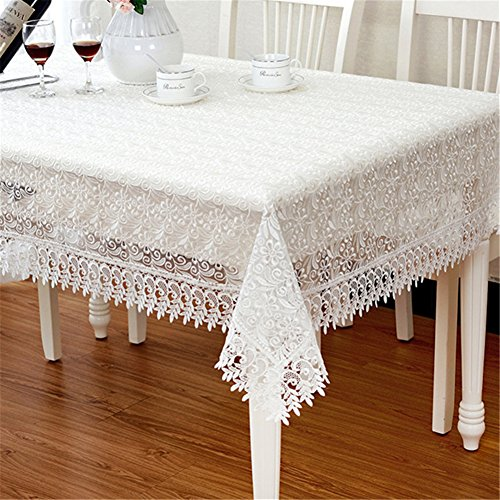 TaiXiuHome Modern Minimalist European Pastoral Style Translucent Lace Embroidery Tablecloth Multiple Uses Top Decoration White Rectangle Approx 48x59 inch (120x150cm) -