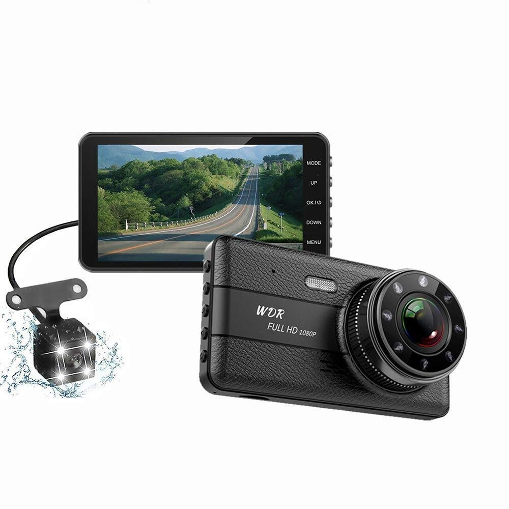 CHEZAI Dash Cam 1080P 4-Inch IPS Full HD Car Front and Rear Dual Lens 170°Wide Angle, Loop Recording,G-Sensor,Motion and Parking Monitor by SPRIS