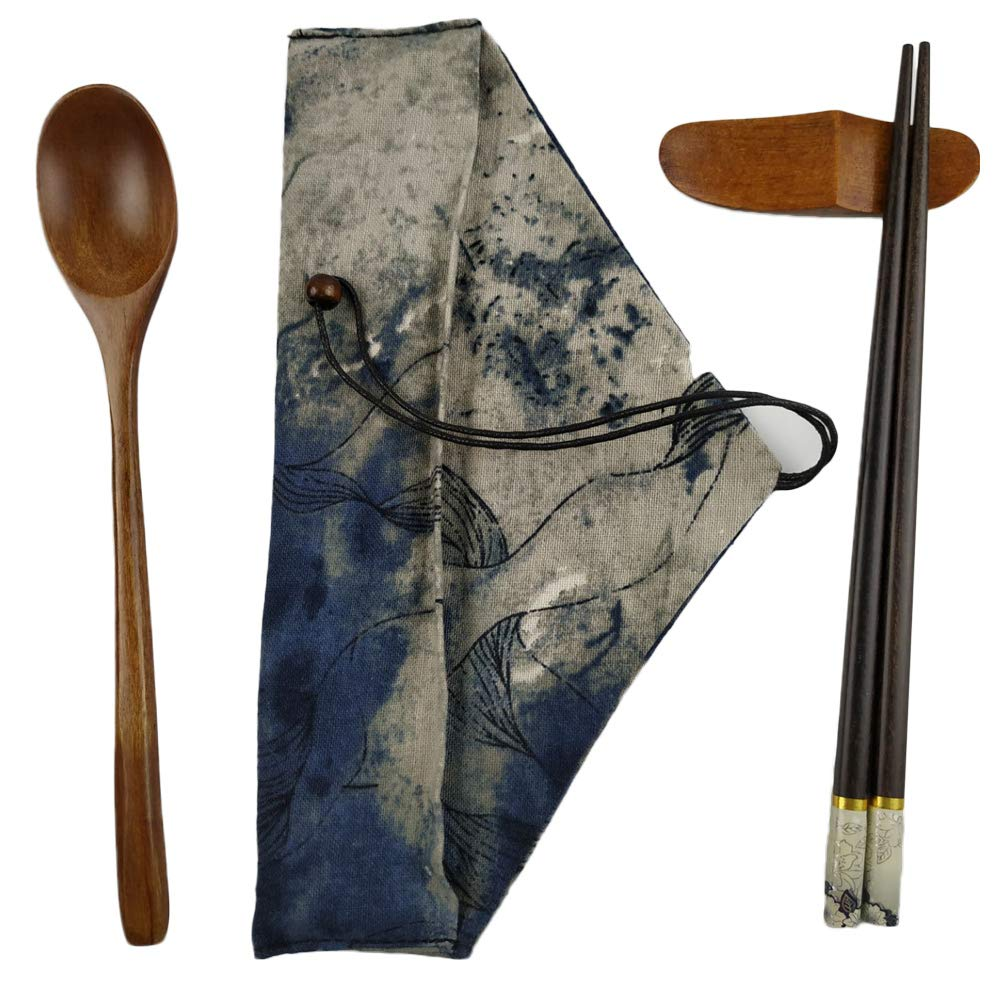 Helen Ou@ Wood Cutlery Set Wooden Chopsticks and Spoon and Tableware Bag and Holder Style C