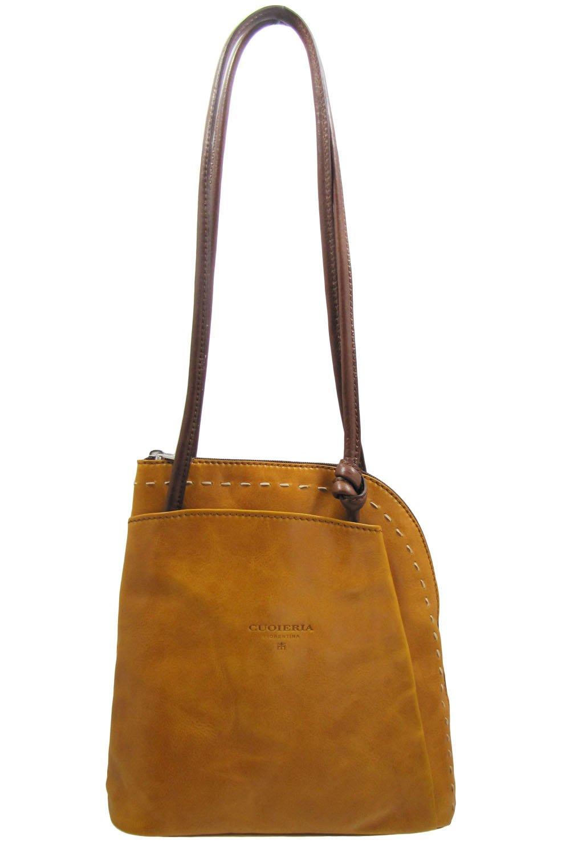 Cuoieria Fiorentina Italian Leather Convertible Shoulder Backpack Handbag (Yellow)