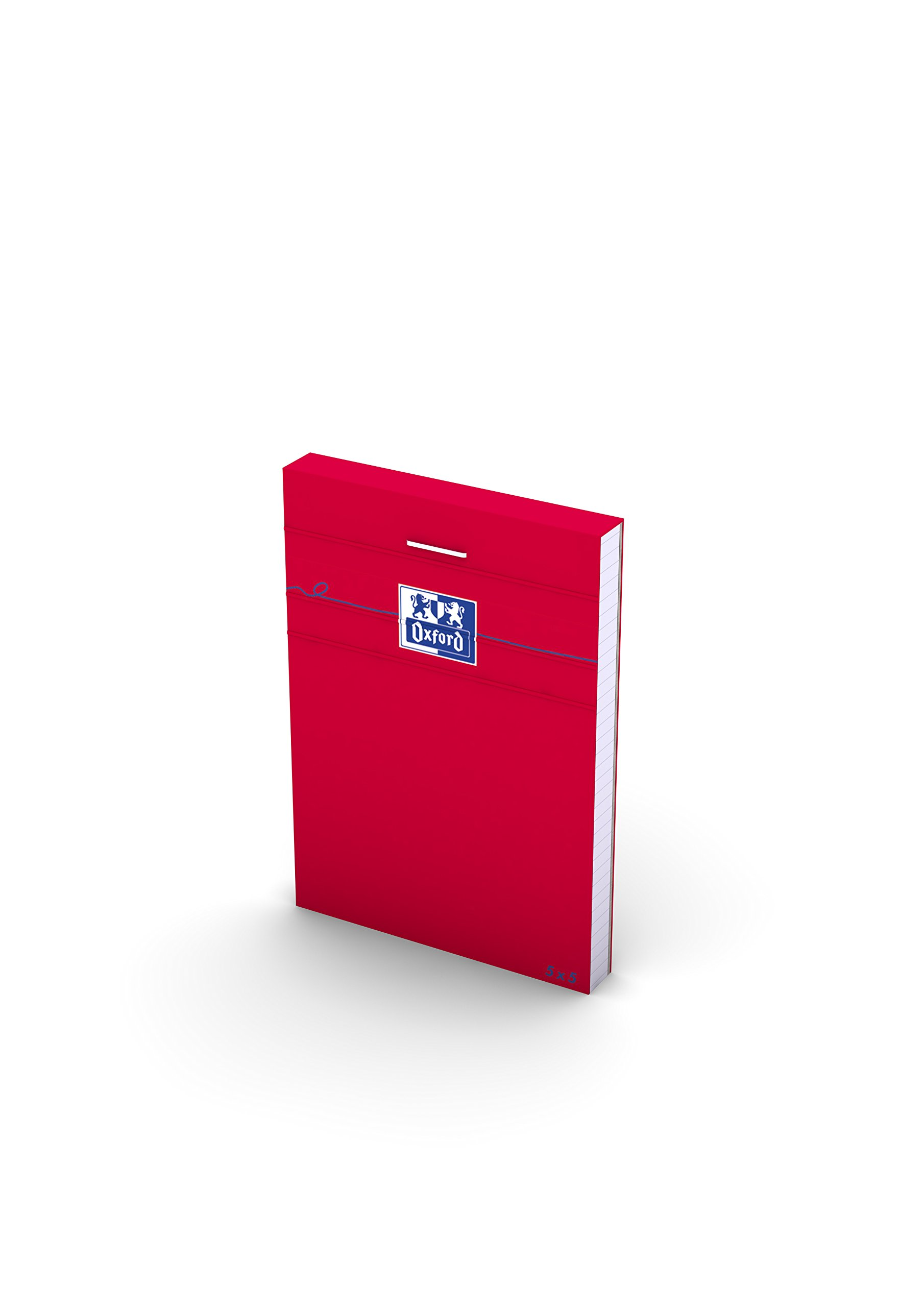 Oxford 100106975Small Squares 5x 5A7160Pages 80g Pack of 10-Red