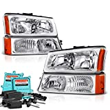 VIPMOTOZ For 2003-2006 Chevy Silverado 1500 2500 3500 Headlights - [Factory Style] - Built In Xenon HID Low Beam, Metallic Chrome Housing, Driver and Passenger Side