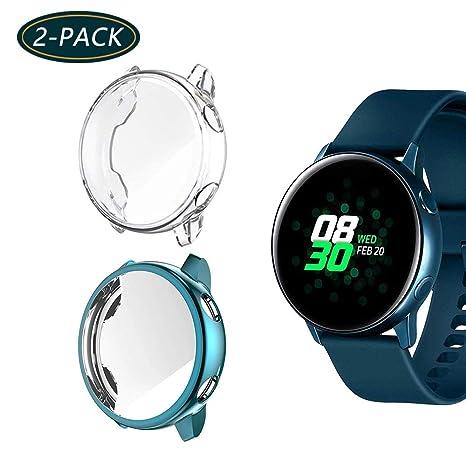 Jvchengxi Funda Protectora para Galaxy Watch Active, Cubierta Protectora de Marco a los rasguños TPU Protector de Pantalla de Cobertura Total para ...
