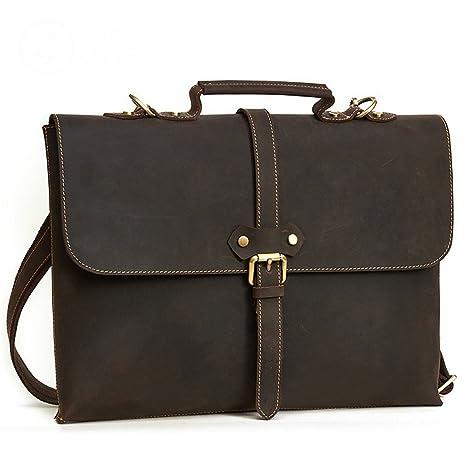 AFCITY maletín para Ordenador portátil Cartera de Cuero para Hombre de la Cartera Maletín de Estilo