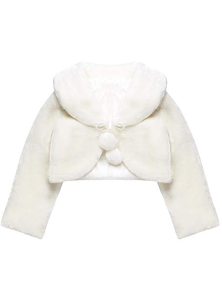Chaqueta de Princesa de Niña Blanca Chal de Piel Sintética Chaquetilla de Bolero de Niñas de Flor Capa de Princesa Accesorios de Vestido de Boda Fiesta: ...