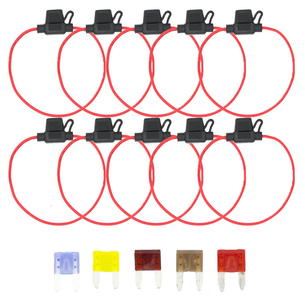 Gadgeter 10pcs Inline 16 AWG Blade ATM Water-Resistant Fuse Holder for Car Boat Truck with 30cm Wire And LITTELFUSE UL Certified mini Fuse(Small)