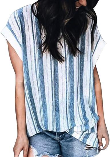 Berimaterry Bluas de Mujer Camisa Algodón Blusa Mujer Elegante Manga Corta Camisa Suelta Mujer Verano Invierno Primavera Shirts Pullover Casual Camisa Cuello V Blusa Rayadas Patchwork Elástico Tops: Amazon.es: Ropa y accesorios