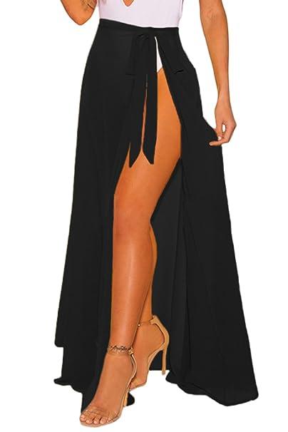 c1cbb8b189e65 FUSENFENG Womens Wrap High Waist Summer Beach Cover Up Long Maxi Skirt (One  Size,