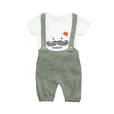 c2da8874b Baby Boys Bonjour Stripe Overalls Outfits,Woaills Toddler Beard Print Short  Sleeve