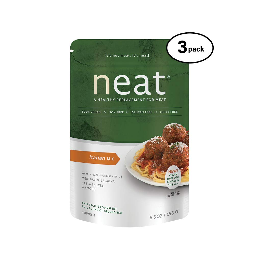 neat - Plant-Based - Italian Mix (5.5 oz.) (Pack of 3) - Non-GMO, Gluten-Free, Soy Free, Meat Substitute Mix by Neat