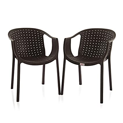 Varmora Designer Chair Set of 2 (Ola Netted - Brown)
