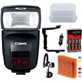 Canon Speedlite 470EX-AI Flash with Deluxe Accessory Bundle Including: Spare Batteries and Charger, Flash Bracket, Off Camera Shoe Cord and High Value Bundle