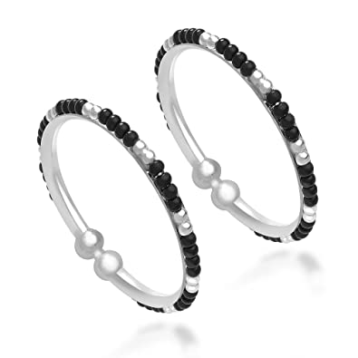 5f9d7400fcca1 Taraash 925 Sterling Silver Black and Silver Beads Kids Bangles ...