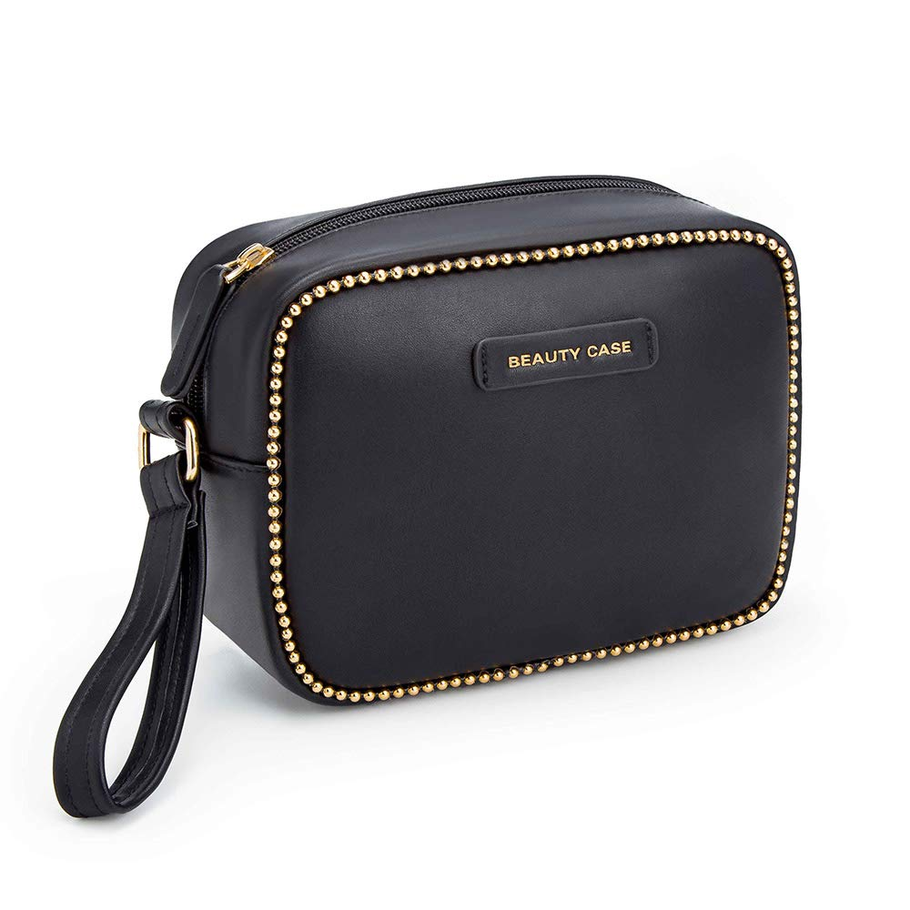 Luxury Makeup Bag PU Leather Toiletry Travel bag for Women Skincare Cosmetic Pouch (Large) (BLACK)
