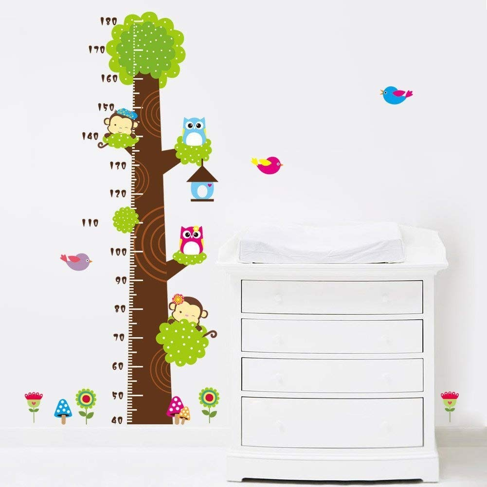Cute Bear Tree Removable Height Chart wall Sticker Kid's Growth Chart wall decal Measure Wall decor for nursery Deoration Rainbow Fox