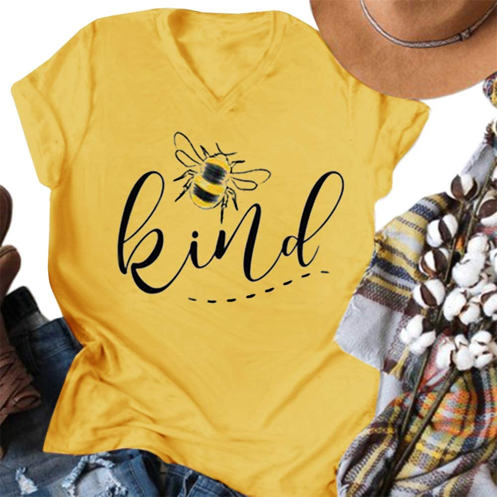 Womens Be Kind Graphic Tees V Neck Cute Printed Summer Casual T Shirts Tops
