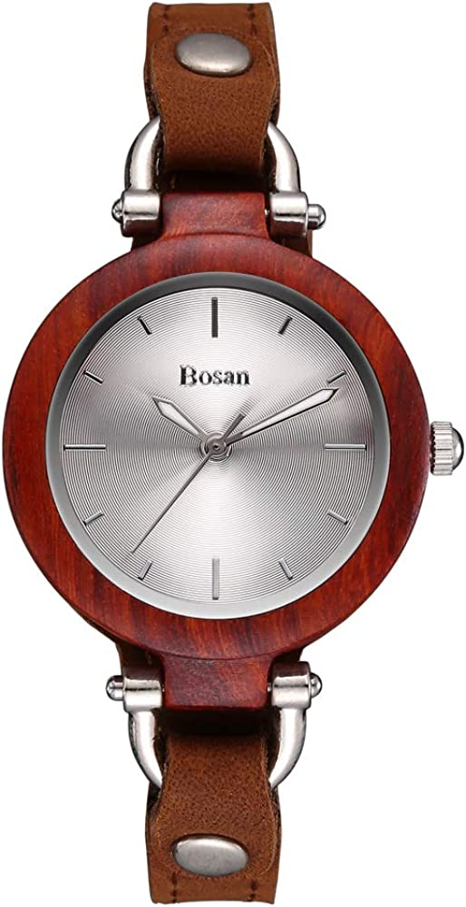 Wood Watch, Bosan Women Stylish CD Line Small Face Unique Design Wooden Wrist Watch with Light Genuine Leather Strap