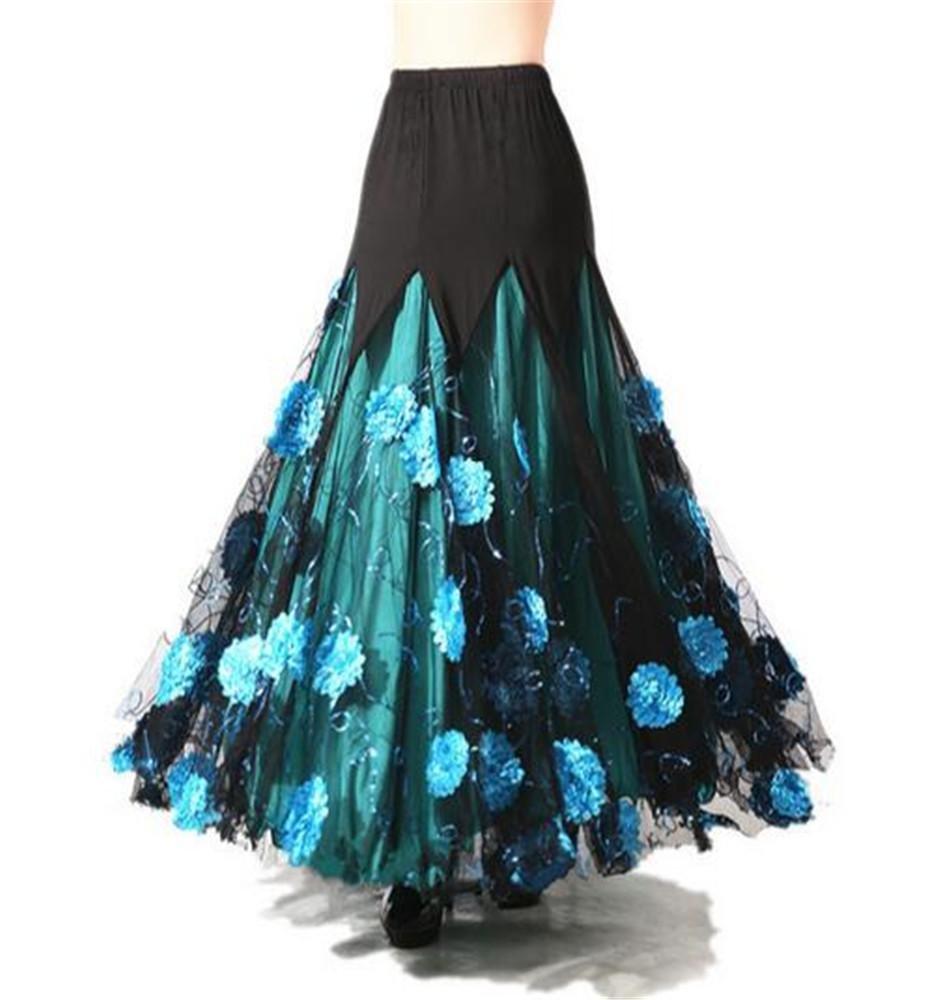 Bleu peiwen Femme Danse Moderne Danse Salle de Bal Danse Dance Perforhommece Grosse Jupe M