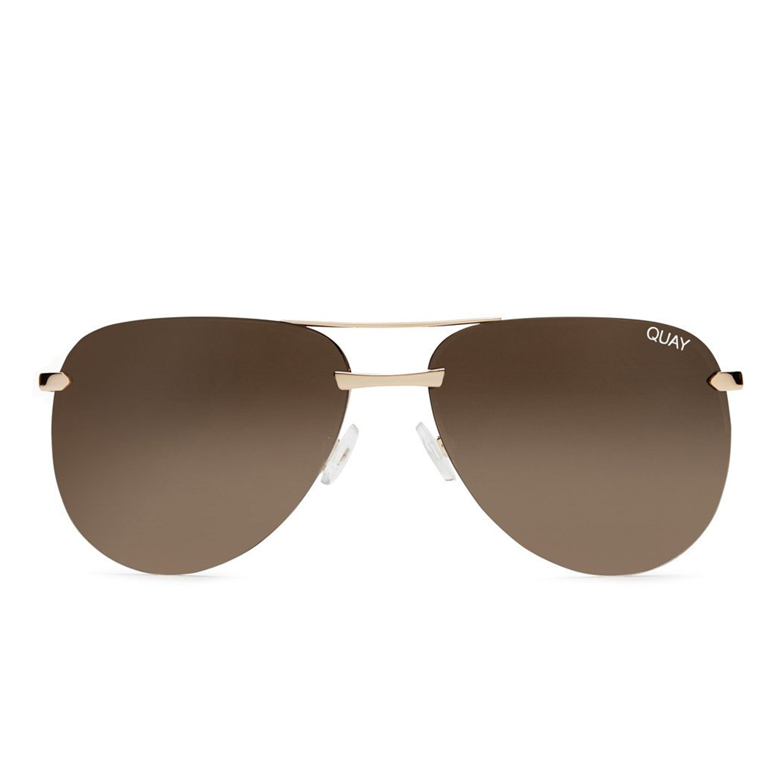 Quay Australia The Playa Women S Sunglasses Aviator Frameless Sunnies Gold Brown