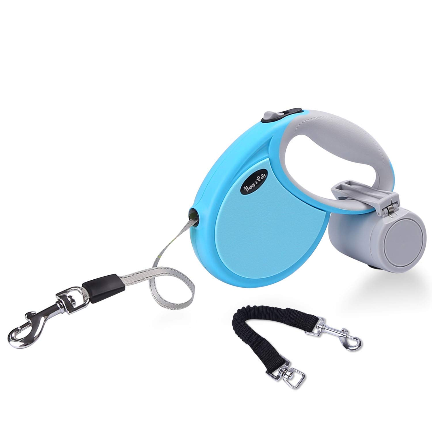 Happy & Polly Retractable Dog Leash 13.1ft Dog Belt Leash Anti-bite Dog Traction Rope Night Visible One-Hand Release Brake with Anti-Slip Handle, Anti-Pull Bungee Leash for Small Medium Dogs by Happy & Polly